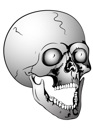 terrifying: screaming skull Illustration