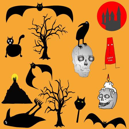 trembling: Halloween backgroud - various graphic elements