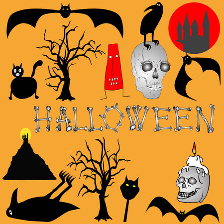 trembling: Halloween background - various graphic elements Illustration