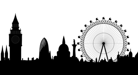 historical building: panorama of London - vector