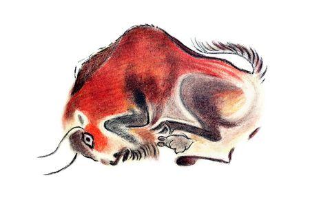 Bild der Bulle in pr�historischen Stil Lizenzfreie Bilder