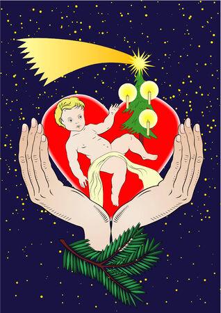 allegoric: Christmas illustration - Xmas night - vector