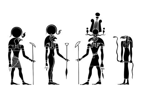 verschillende goden van het oude Egypte  Stock Illustratie