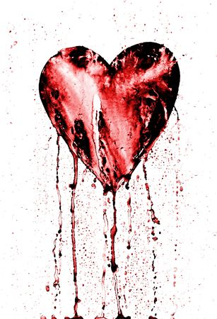 adore: bleeding heart - symbol of love - in grunge style Stock Photo