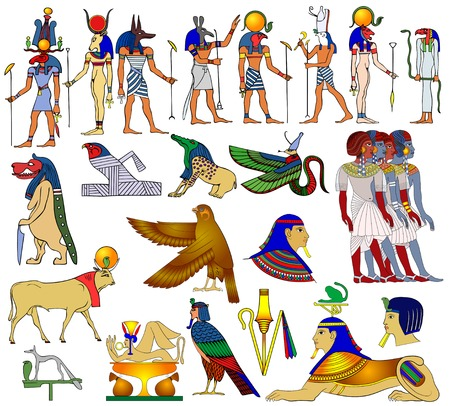 deities: Vector themes of ancient Egypt Illustration