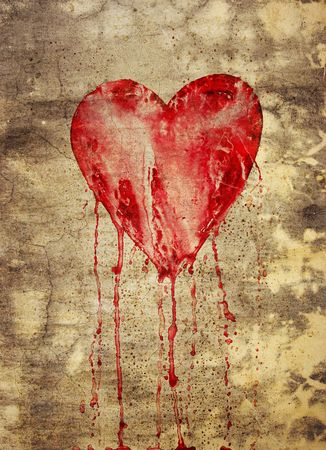 grunge heart: bleeding heart on the wall in grunge style