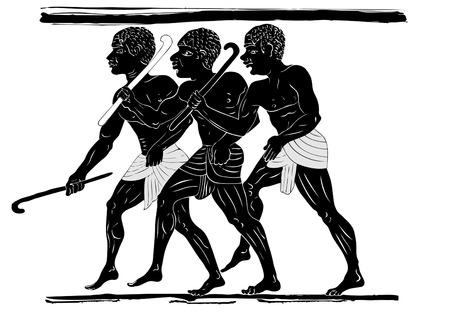 pintura rupestre: tres cazadores en estilo primitivo Vectores