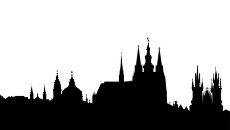 skyline van Praag Stock Illustratie
