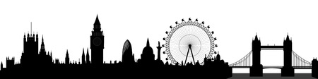 london city: London skyline - Big Ben, London Eye, Tower Bridge, Westminster Illustration