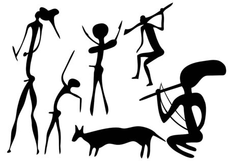 pintura rupestre: Aspecto primitivo de figuras como pintura rupestre