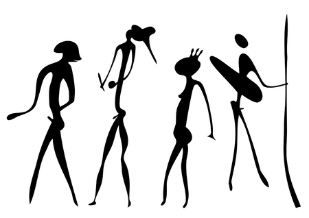Primitive figures looks like cave painting - vector Vector