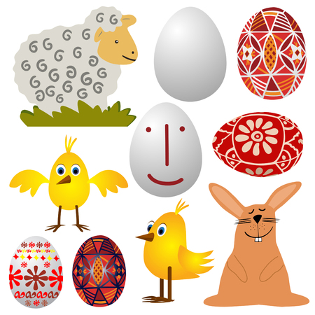 paschal lamb:  various Easter graphic elements - vector