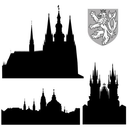 Beroemde monumenten van Praag - vector Stock Illustratie