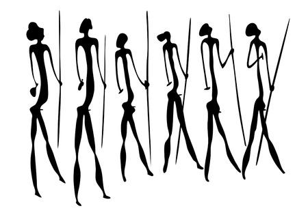 Aspecto primitivo de figuras como pintura rupestre Foto de archivo - 8499885