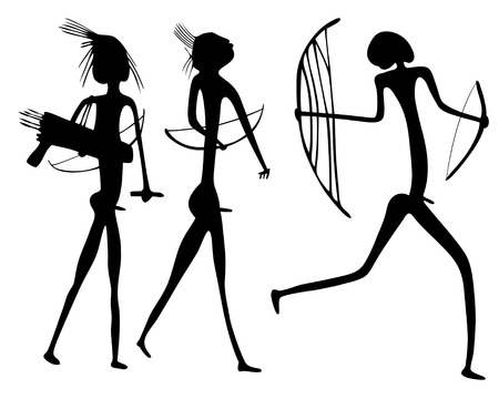 aboriginal: Aspecto primitivo de figuras como pintura rupestre