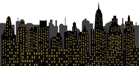 moderne stad - wolkenkrabbers  Stock Illustratie