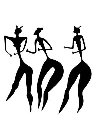 Primitive figures of women - primitive art