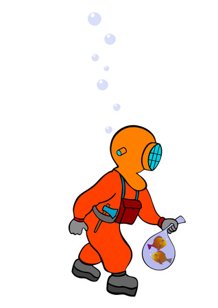 deep sea diver on the prowl - Vector Stock Vector - 8860809