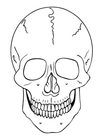fake smile: smiling skull - vector - warning symbol Illustration