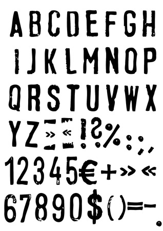 alphanumeric: Hand drawn alphabet set - Vector
