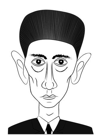 novelist: famous writer Franz Kafka - Vector