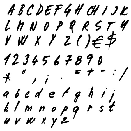 Hand drawn alphabet set Illustration