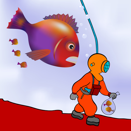 deep sea diver on the prowl  Vector