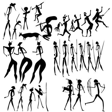 Primitive figures looks like cave painting Stock Vector - 9201070