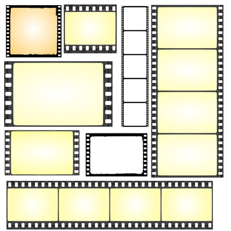 film set: set of real and grunge film frames  Illustration