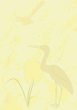 spat: abstract background with heron - Chine style