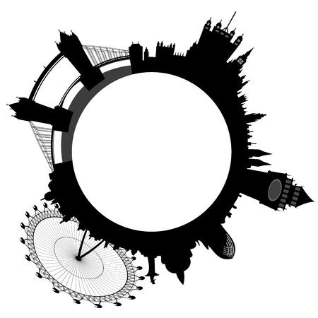 ferriswheel: Illustrazione della skyline di Londra - Big Ben, London Eye, Tower Bridge, Westminster Vettoriali