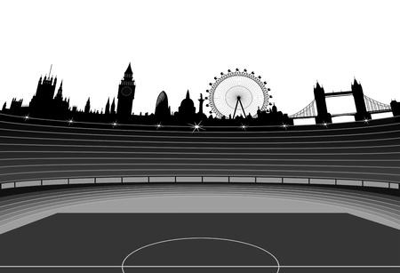 スタジアムと 2012 年のオリンピックの主催者はスカイライン - ロンドン - ロンドンのイラスト  イラスト・ベクター素材