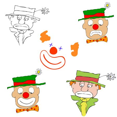 mournful and happy clowns Vector