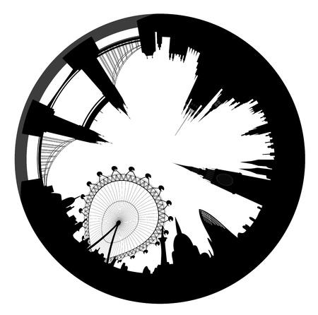 discontinuity: London skyline looks like ring - vector