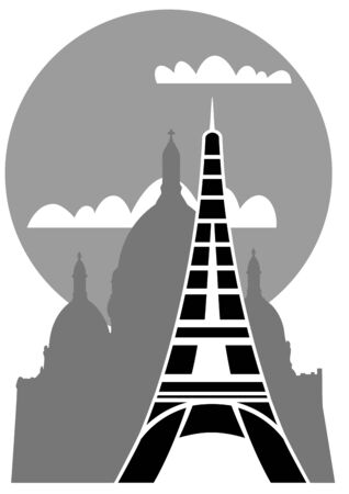 Eiffel Tower with Sacre Coeur  Vector