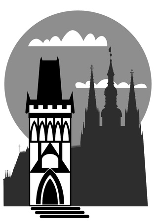 prague castle: famous landmarks of Prague - Prague castle and Old Town Hall Tower