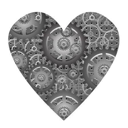 unemotional: mechanical heart - vector Illustration