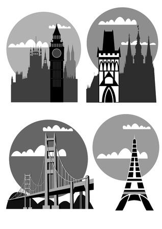 famous cities - London, Paris, San Francisco, Prague - vector