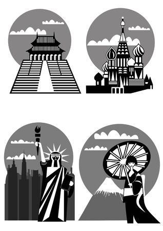 various famous landmarks and monuments - Japan, New York, Far East, Moscow Vector