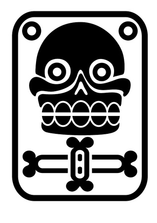 Aztec stamp with skull Vector