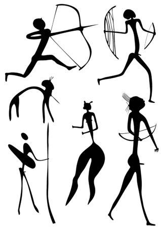 pintura rupestre: Figuras primitivos parece pintura rupestre Vectores