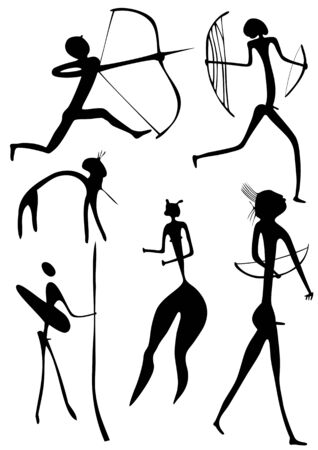 Primitive figures looks like cave painting Vector