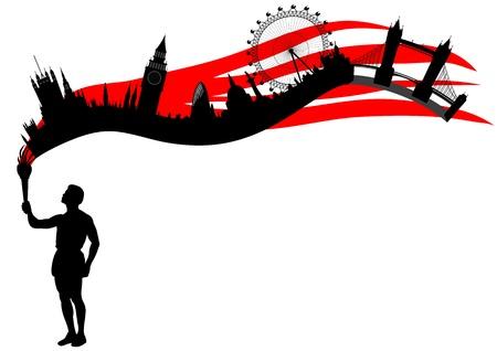 logotipo turismo: llama eterna parece Londres skyline Vectores