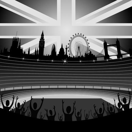 Stadion mit der Skyline von London am Horizont Illustration