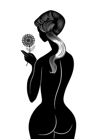 fine arts: Vector illustration girl with flower
