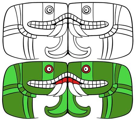 뱀 머리에서 복합 지구 아즈텍 여신