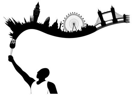 London Skyline sieht aus wie unsterbliche Flamme