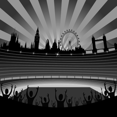 stadium with the London skyline on the horizon Vector