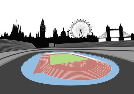 stadium and London skyline  Vector