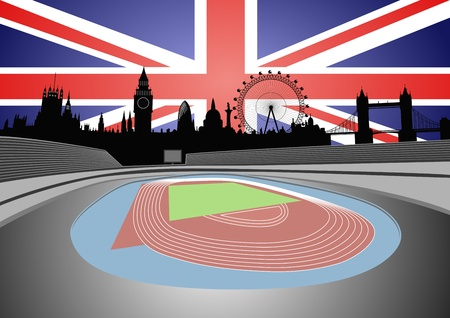 stadion en Londen skyline Stock Illustratie